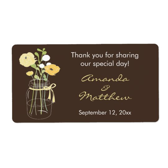 Yellow and Brown Mason Jar Wedding Favour Labels