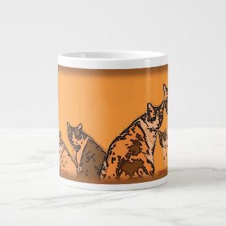 Yellow and brown tabby cats large coffee mug