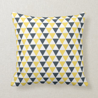 Yellow and Charcoal Triangles Pattern Cushion