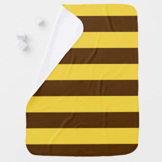 Yellow and chocolate brown Stripe Swaddle Blankets