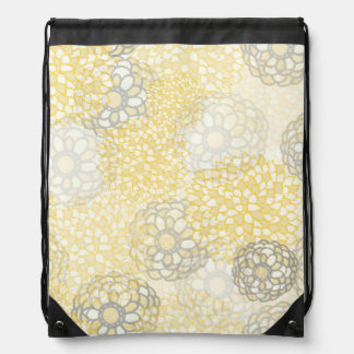 Yellow and Clay Flower Burst Design Drawstring Backpacks