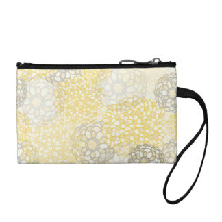 Yellow and Clay Flower Burst Design Change Purses