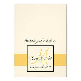 Yellow and Cream Monogram Wedding Invitations