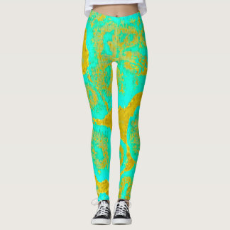 Yellow and Cyan Ameba by JP Choate Leggings