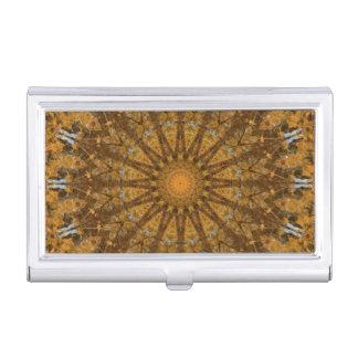 Yellow and Gold Autumn Mandala Kaleidoscope Business Card Holder