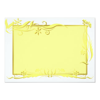 Yellow and gold floral ornament 13 cm x 18 cm invitation card
