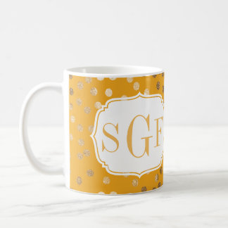 Yellow and Gold Glitter City Dots Monogram Mug