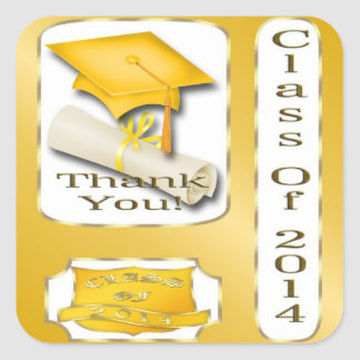Yellow and Gold Graduation Thank You envelope seal Sticker