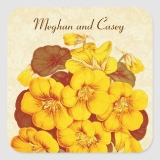 Yellow and Gold Vintage Flowers Wedding  D585 Square Sticker