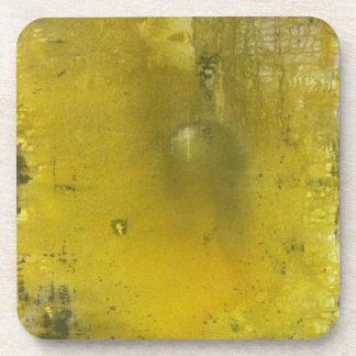 Yellow and gray abstract coaster