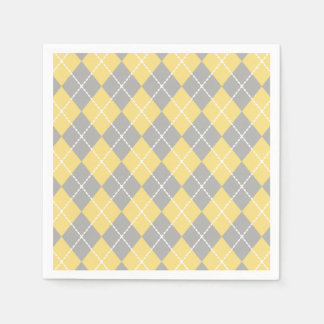 Yellow and Gray Argyle Napkins Paper Napkins