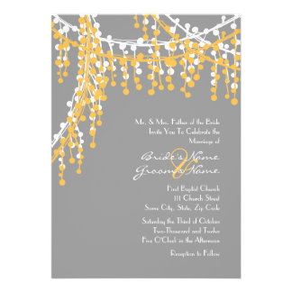 Yellow and Gray Beaded Wedding Invitation