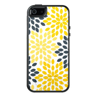 Yellow and Gray Charcoal Modern Floral OtterBox iPhone 5/5s/SE Case