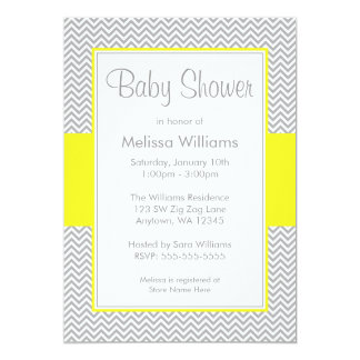 Yellow and Gray Chevron Baby Shower Invitations
