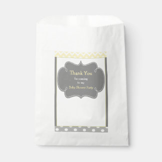 Yellow and Gray Chevron Baby Shower Party Favour Bag