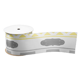 Yellow and Gray Chevron Baby Shower Satin Ribbon