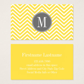 Yellow and Gray Chevron Pattern Custom Monogram Business Card
