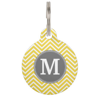 Yellow and Gray Chevron Pattern with Monogram Pet Name Tags