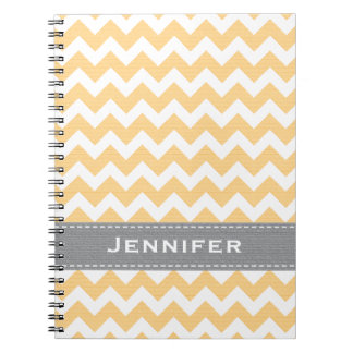 Yellow and Gray Chevron Spiral Notebook Journal