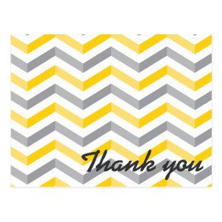Yellow and Gray Chevron Thank You Postcard