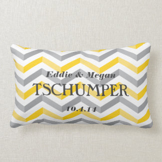 Yellow and Gray Chevron Wedding Lumbar Pillow