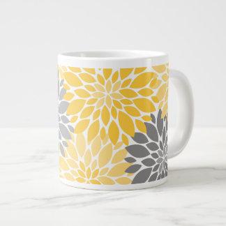 Yellow and Gray Chrysanthemums Floral Pattern Large Coffee Mug