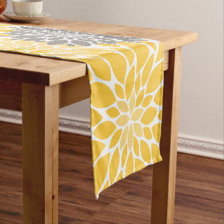 Yellow and Gray Chrysanthemums Floral Pattern Short Table Runner