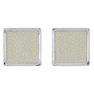 Yellow And Gray Confetti Dots Silver Finish Cufflinks