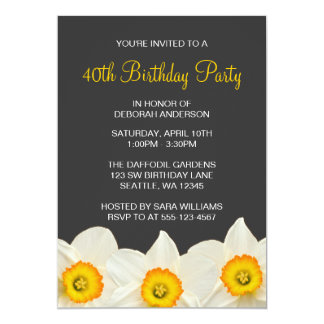 Yellow and Gray Daffodil Flowers Birthday Party Card
