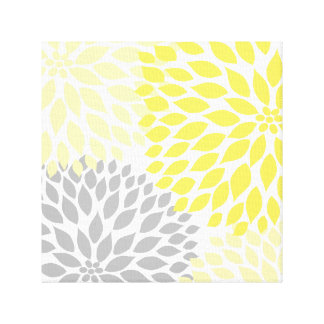Yellow and Gray Dahlia Square Canvas Wall Art