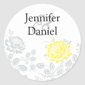 Yellow and Gray Damask Envelope Seal Sticker