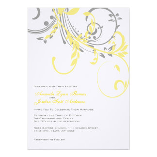 Yellow and Gray Double Floral Wedding Invitation