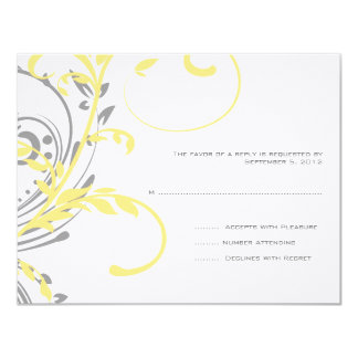 Yellow and Gray Double Floral Wedding RSVP 11 Cm X 14 Cm Invitation Card