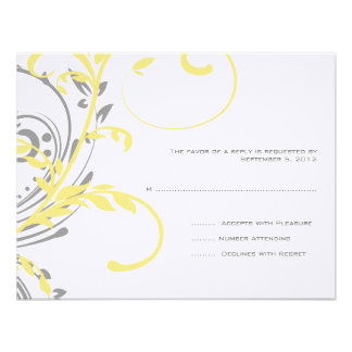 Yellow and Gray Double Floral Wedding RSVP Custom Invites