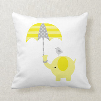 Yellow and Gray Elephant and Bird Cushion