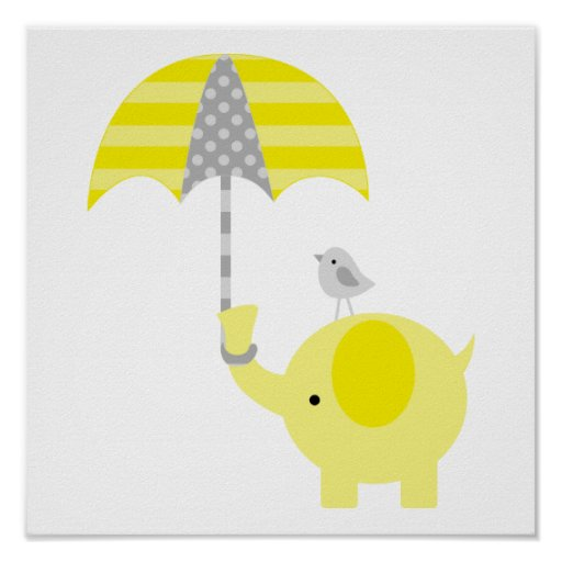 Yellow and Gray Elephant and Bird Nursery Posters