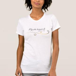 Yellow and Gray Faded Flourish Wedding T Shirts