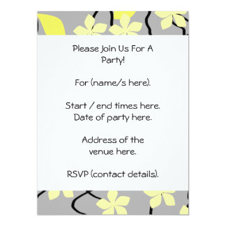 Yellow and Gray Flowers. Floral Pattern. 17 Cm X 22 Cm Invitation Card