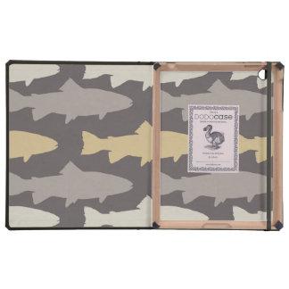 Yellow and Gray Fun Trout Fish Pattern iPad Folio Case