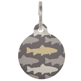 Yellow and Gray Fun Trout Fish Pattern Pet Tag