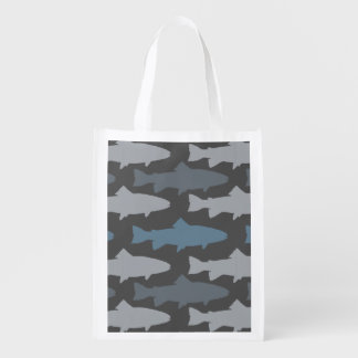 Yellow and Gray Fun Trout Fish Pattern Reusable Grocery Bag