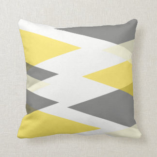 Yellow and Gray Geometric Abstract Throw Pillow