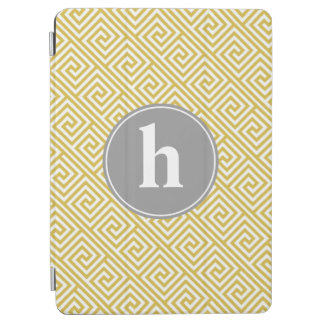 Yellow and Gray Greek Key Pattern Monogram iPad Air Cover