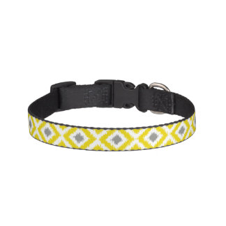 Yellow and Gray Ikat Diamonds Pattern Pet Collar