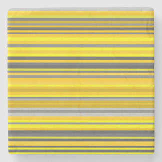 Yellow and Gray Lines/Stripes Pattern Stone Coaster