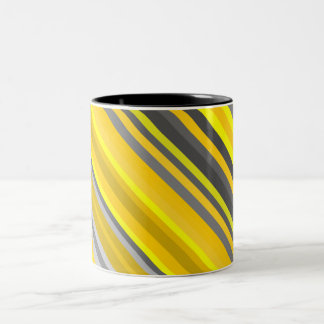 Yellow and Gray Lines/Stripes Pattern Two-Tone Coffee Mug