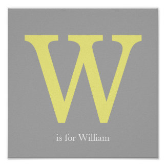 Yellow and Gray Monogram Poster