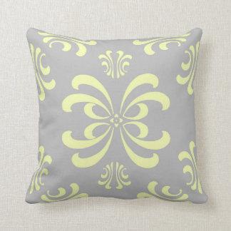 Yellow and Gray Nouveau Flourish Decor Pillow