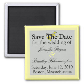 Yellow And Gray Save The Date Magnets