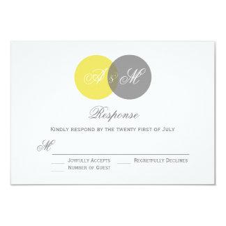Yellow and Gray Twin Monograms Wedding RSVP Card 9 Cm X 13 Cm Invitation Card